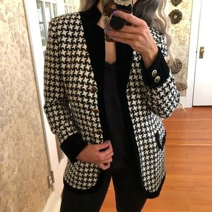ESCADA Houndstooth Black Wool Velvet Blazer Sz 38